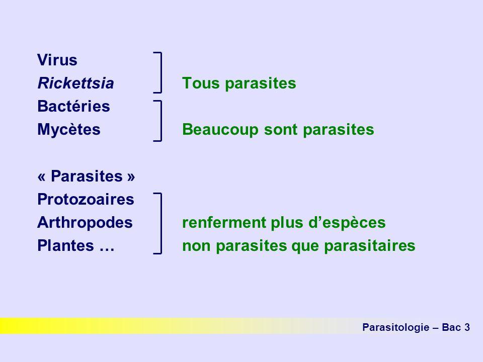 Virus RickettsiaTous parasites Bactéries Mycètes Beaucoup sont parasites « Parasites » Protozoaires Arthropodesrenferment plus despèces Plantes … non