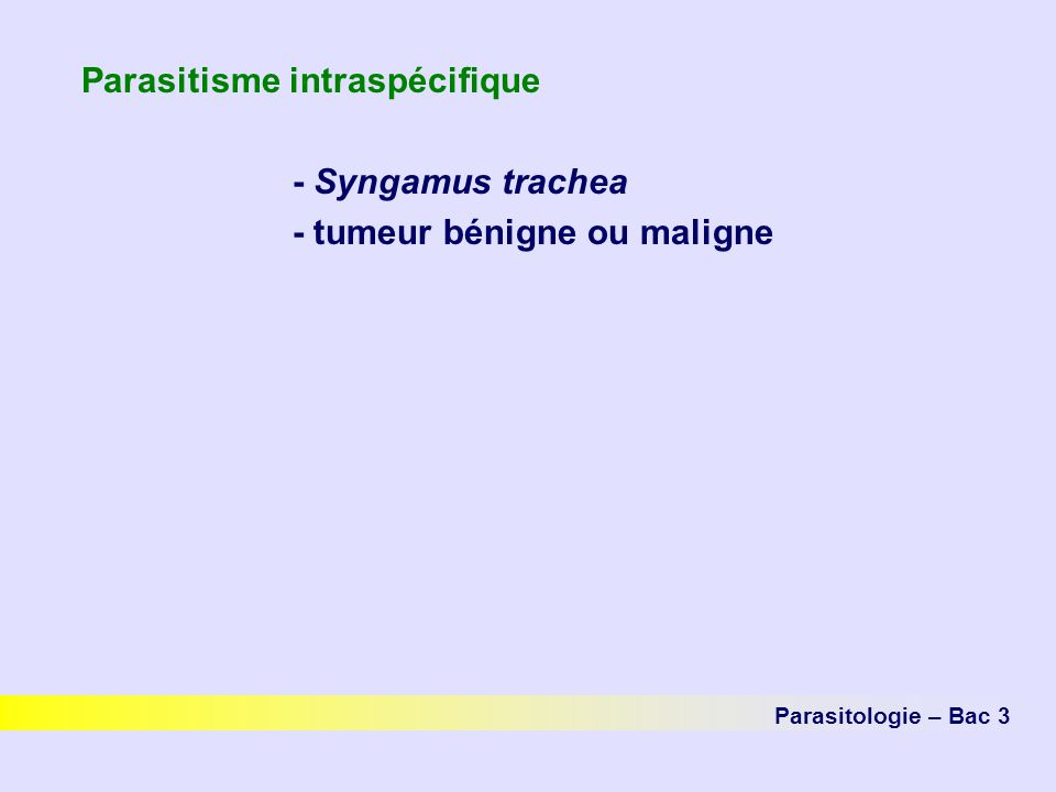 Parasitisme intraspécifique - Syngamus trachea - tumeur bénigne ou maligne Parasitologie – Bac 3