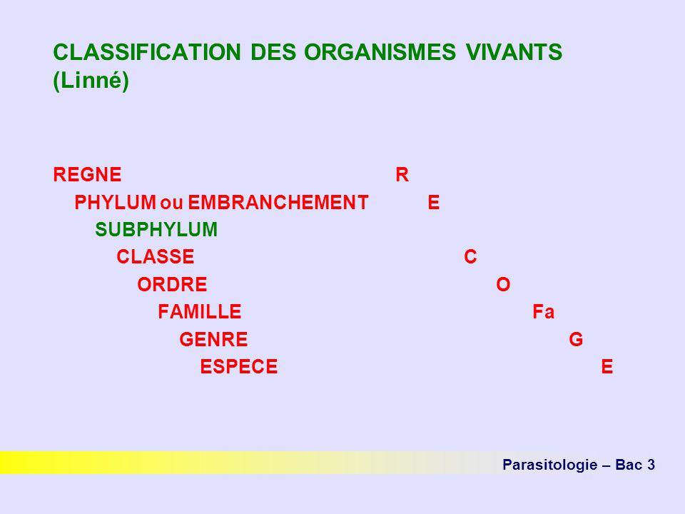 CLASSIFICATION DES ORGANISMES VIVANTS (Linné) REGNER PHYLUM ou EMBRANCHEMENT E SUBPHYLUM CLASSEC ORDRE O FAMILLEFa GENRE G ESPECEE Parasitologie – Bac