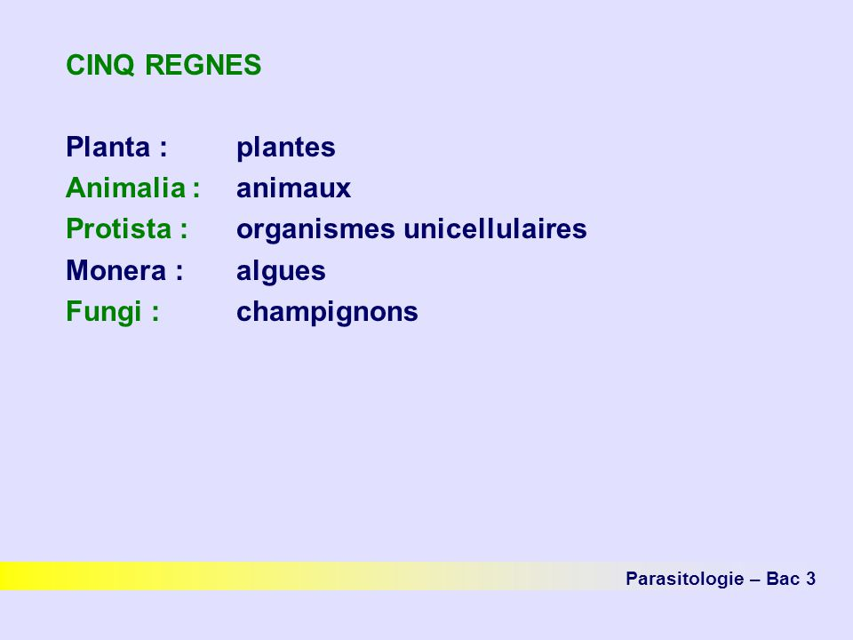 CINQ REGNES Planta :plantes Animalia :animaux Protista :organismes unicellulaires Monera :algues Fungi :champignons Parasitologie – Bac 3