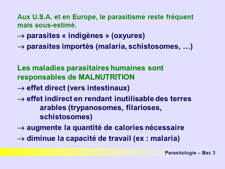 Aux U.S.A. et en Europe, le parasitisme reste fréquent mais sous-estimé. parasites « indigènes » (oxyures) parasites importés (malaria, schistosomes,