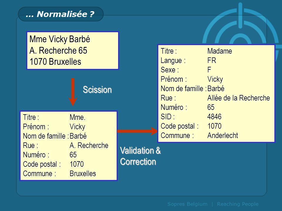 Sopres Belgium | Reaching People … Normalisée ? Mme Vicky Barbé A. Recherche 65 1070 Bruxelles Titre :Mme. Prénom :Vicky Nom de famille :Barbé Rue :A.