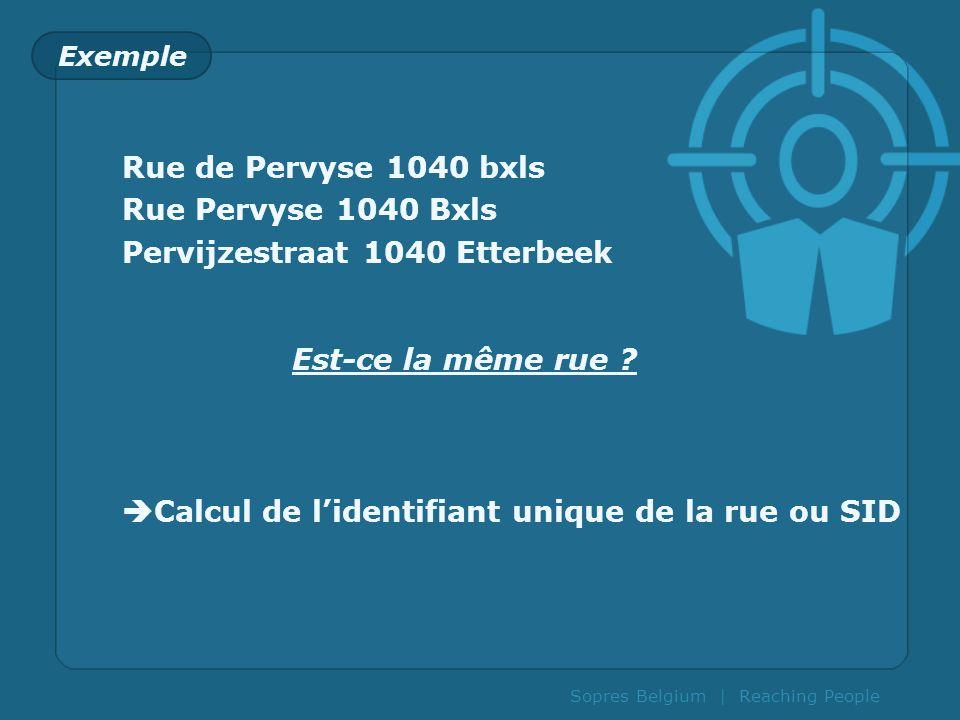 Sopres Belgium | Reaching People Exemple Rue de Pervyse 1040 bxls Rue Pervyse 1040 Bxls Pervijzestraat 1040 Etterbeek Est-ce la même rue ? Calcul de l