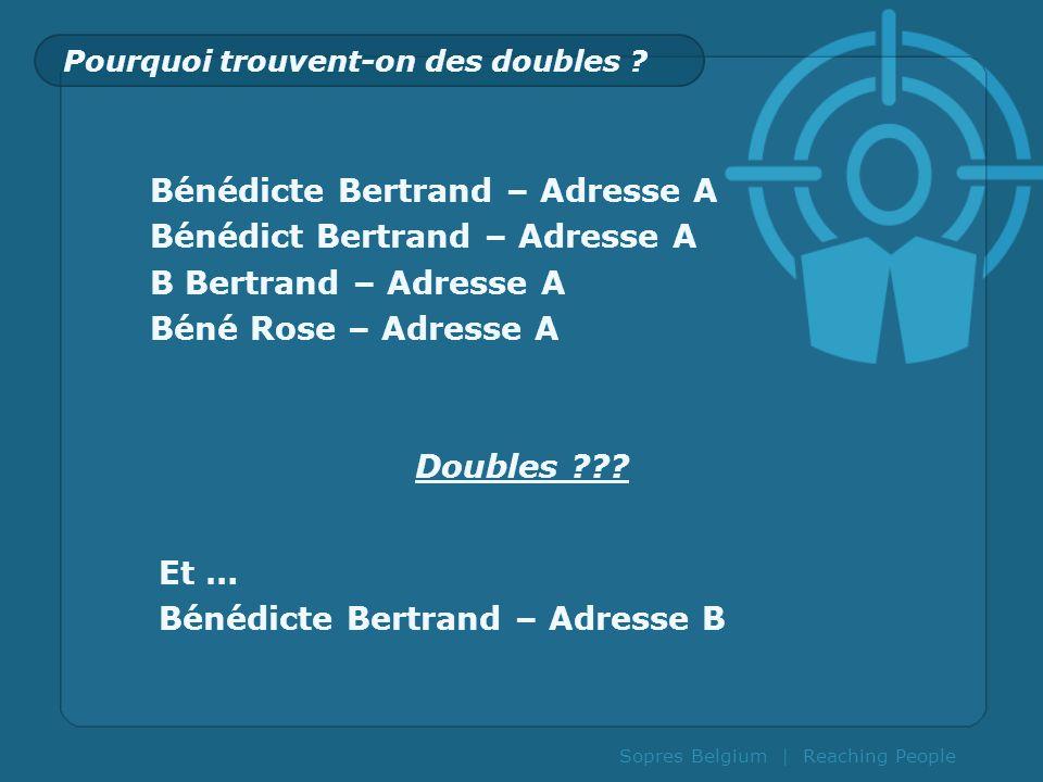 Pourquoi trouvent-on des doubles ? Bénédicte Bertrand – Adresse A Bénédict Bertrand – Adresse A B Bertrand – Adresse A Béné Rose – Adresse A Doubles ?