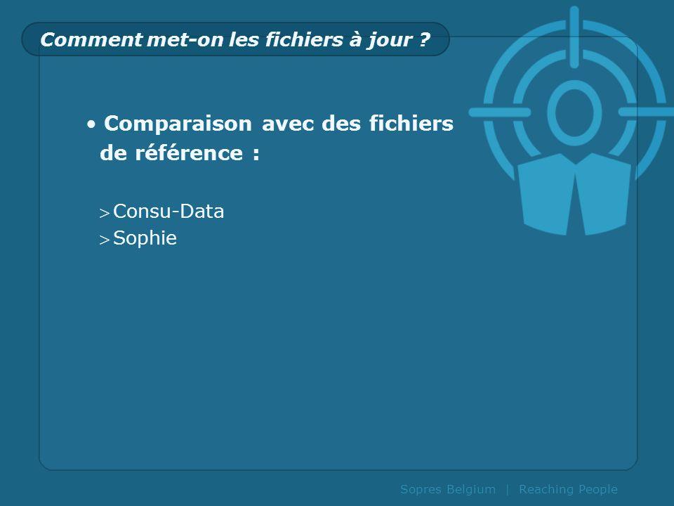 Sopres Belgium | Reaching People Comment met-on les fichiers à jour ? Comparaison avec des fichiers de référence : Consu-Data Sophie
