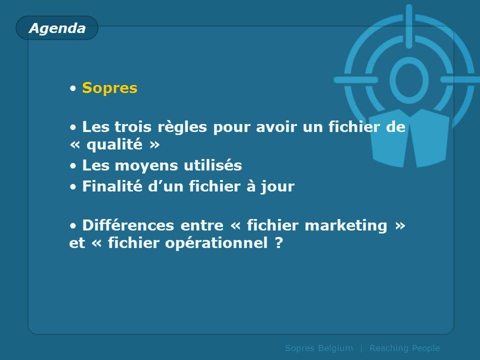 Sopres Belgium | Reaching People Agenda Sopres Les trois règles pour avoir un fichier de « qualité » Les moyens utilisés Finalité dun fichier à jour D