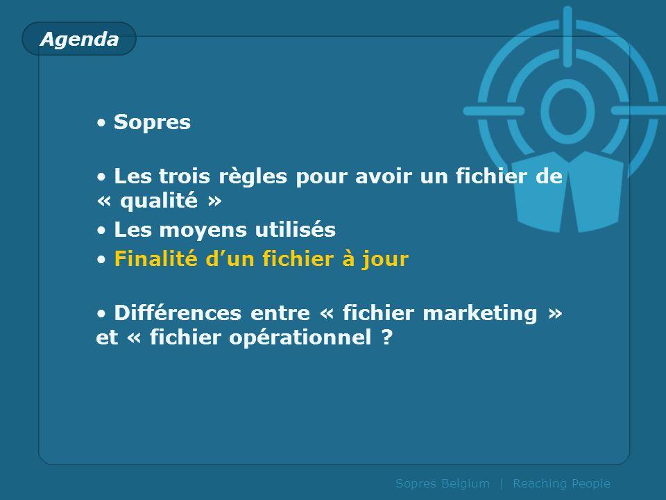 Agenda Sopres Les trois règles pour avoir un fichier de « qualité » Les moyens utilisés Finalité dun fichier à jour Différences entre « fichier market