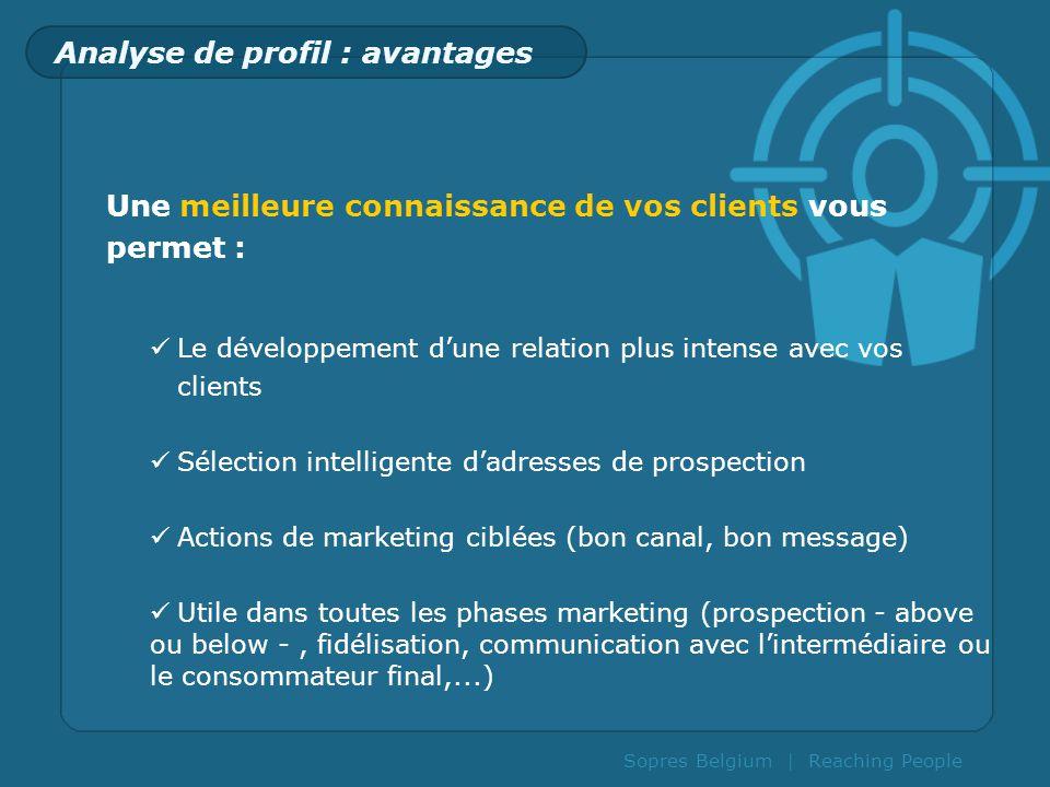 Sopres Belgium | Reaching People Analyse de profil : avantages Une meilleure connaissance de vos clients vous permet : Le développement dune relation