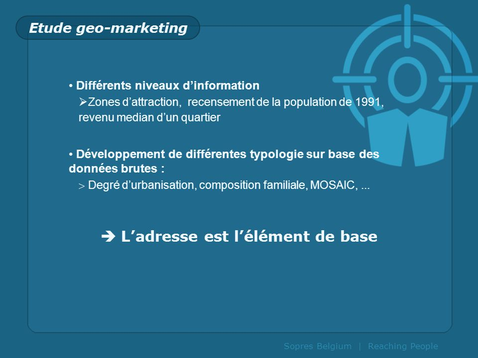 Sopres Belgium | Reaching People Etude geo-marketing Différents niveaux dinformation Zones dattraction, recensement de la population de 1991, revenu m