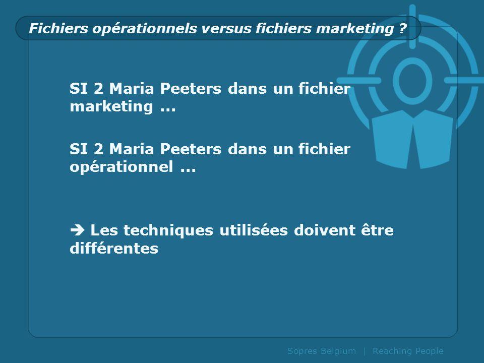 Sopres Belgium | Reaching People Fichiers opérationnels versus fichiers marketing ? SI 2 Maria Peeters dans un fichier marketing... SI 2 Maria Peeters