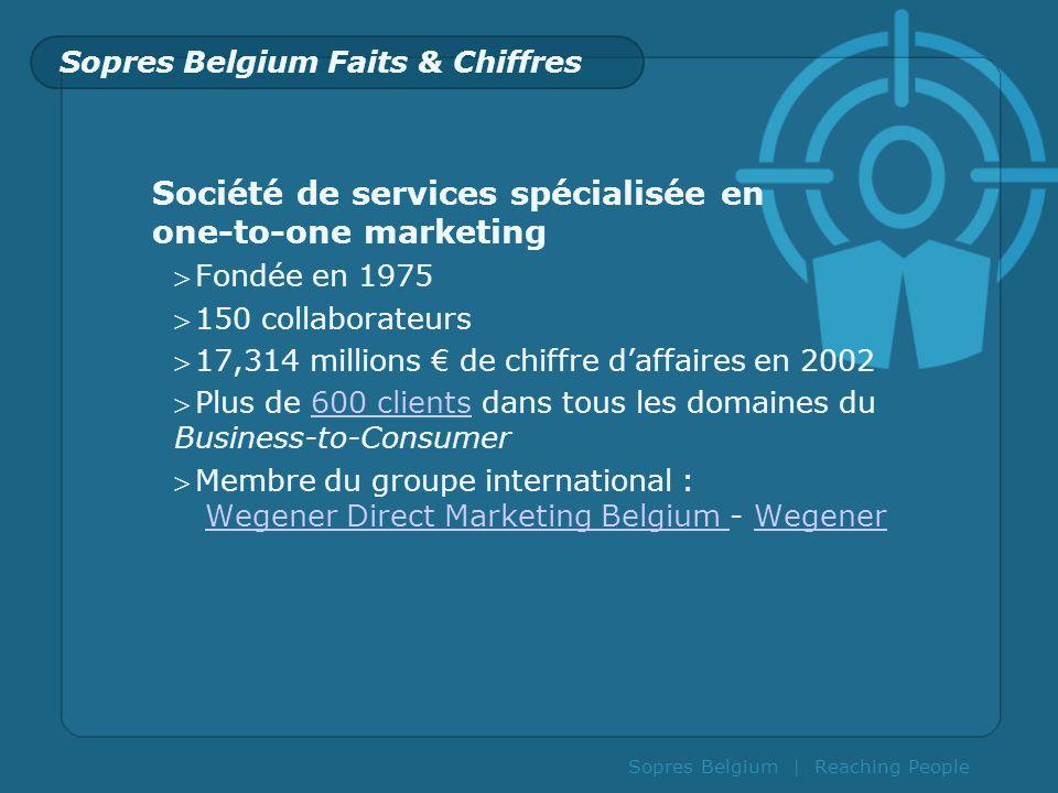 Sopres Belgium | Reaching People Société de services spécialisée en one-to-one marketing Fondée en 1975 150 collaborateurs 17,314 millions de chiffre