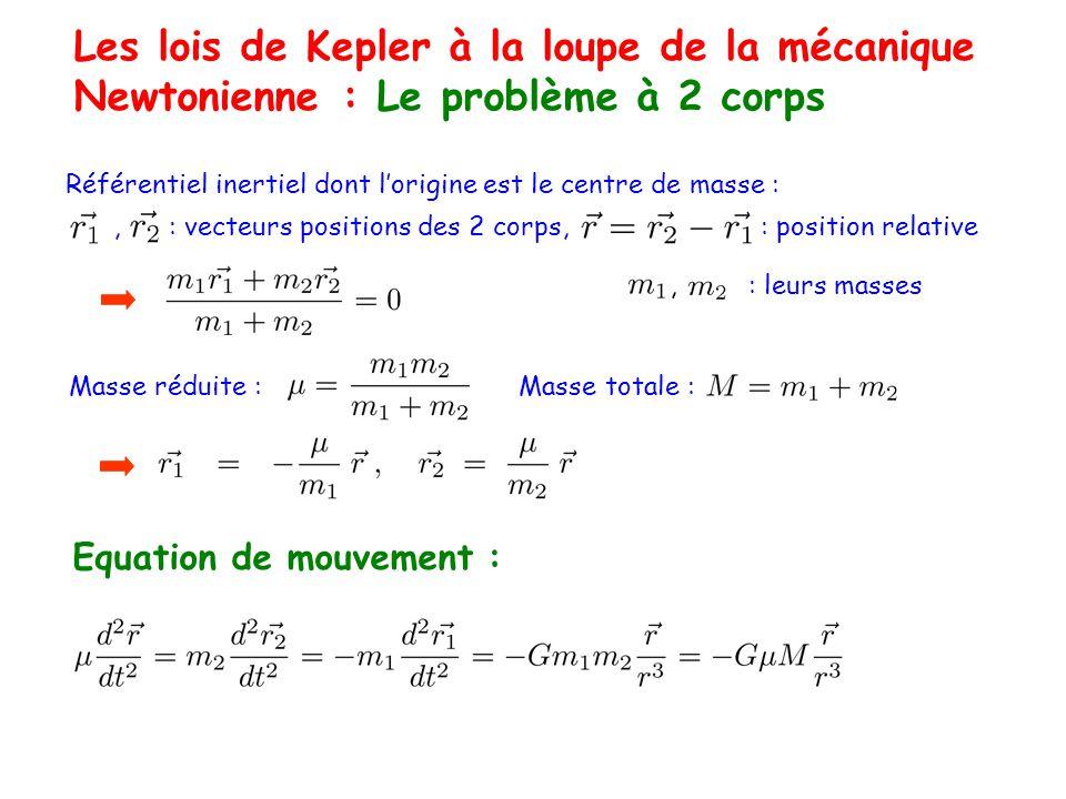 Les lois de Kepler à la loupe de la mécanique Newtonienne : Le problème à 2 corps Référentiel inertiel dont lorigine est le centre de masse :, : vecteurs positions des 2 corps, : position relative Masse réduite : Masse totale :, : leurs masses Equation de mouvement :