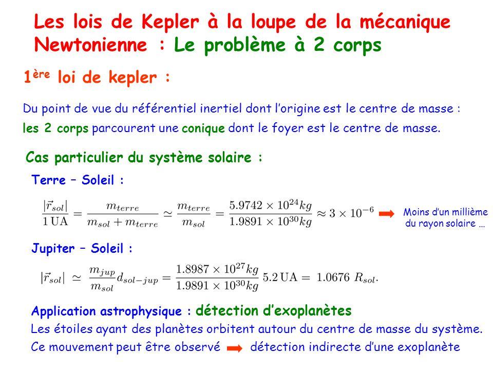 Les lois de Kepler à la loupe de la mécanique Newtonienne : Le problème à 2 corps 1 ère loi de kepler : Du point de vue du référentiel inertiel dont lorigine est le centre de masse : les 2 corps parcourent une conique dont le foyer est le centre de masse.