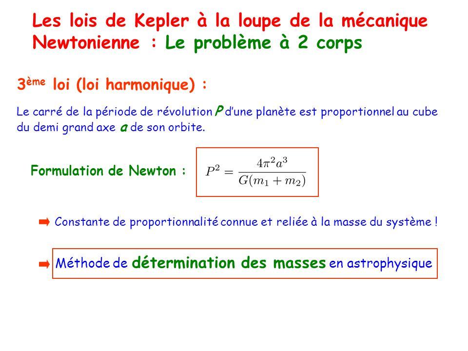 Les lois de Kepler à la loupe de la mécanique Newtonienne : Le problème à 2 corps 3 ème loi (loi harmonique) : Le carré de la période de révolution P dune planète est proportionnel au cube du demi grand axe a de son orbite.