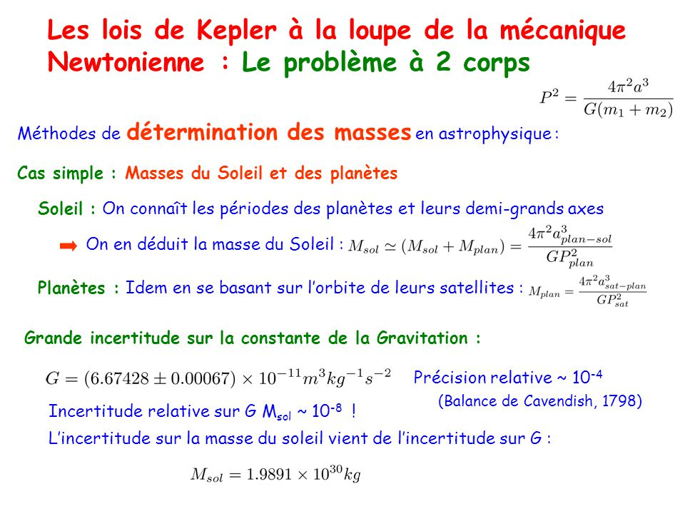 Les lois de Kepler à la loupe de la mécanique Newtonienne : Le problème à 2 corps Méthodes de détermination des masses en astrophysique : Cas simple : Masses du Soleil et des planètes Soleil : On connaît les périodes des planètes et leurs demi-grands axes On en déduit la masse du Soleil : Planètes : Idem en se basant sur lorbite de leurs satellites : Grande incertitude sur la constante de la Gravitation : Précision relative ~ 10 -4 Incertitude relative sur G M sol ~ 10 -8 .