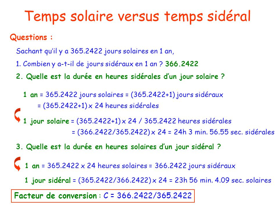 Temps solaire versus temps sidéral Temps et astronomie Questions : Sachant quil y a 365.2422 jours solaires en 1 an, 1.