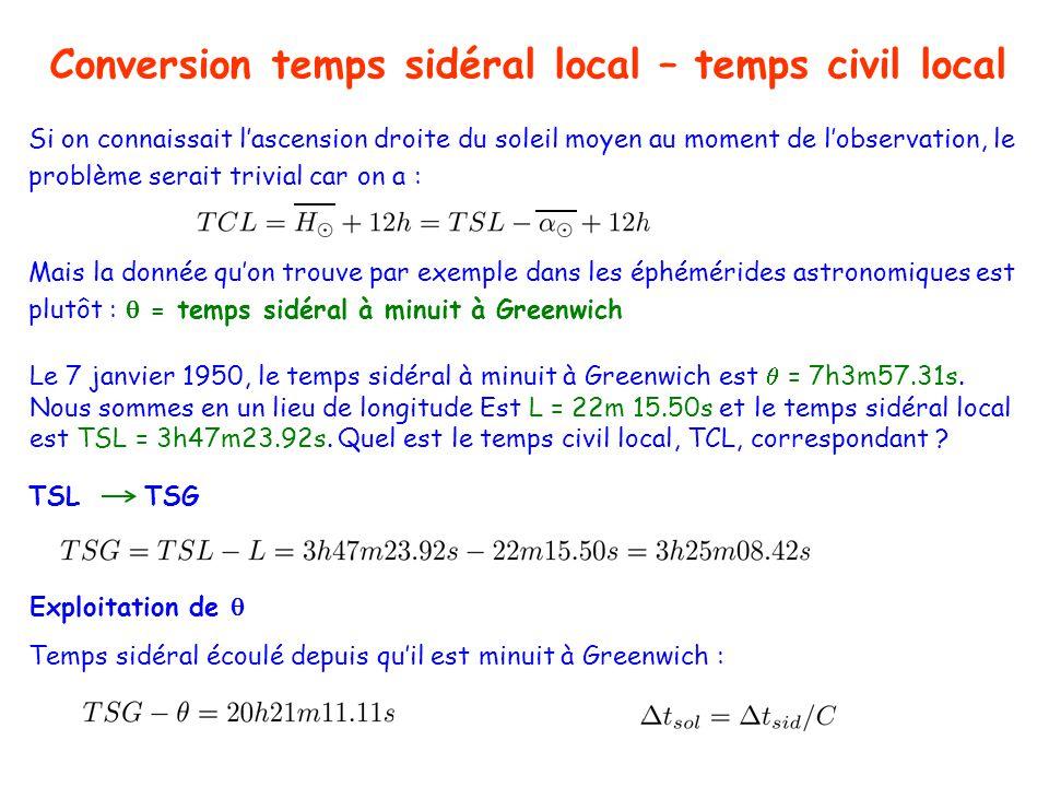 Conversion temps sidéral local – temps civil local TSL TSG Le 7 janvier 1950, le temps sidéral à minuit à Greenwich est = 7h3m57.31s.