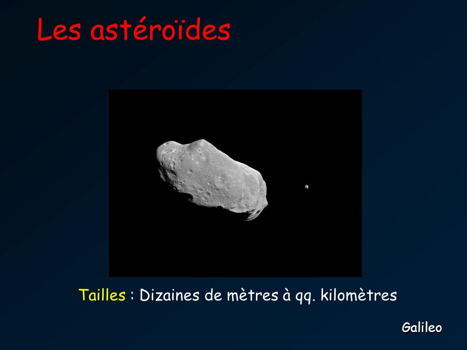 Les astéroïdesGalileo Tailles : Dizaines de mètres à qq. kilomètres