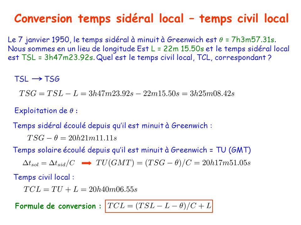 Temps et astronomie Conversion temps sidéral local – temps civil local TSLTSG En 1 an : Nombre dheures solaires = Réponses : jours sidéraux Le 7 janvier 1950, le temps sidéral à minuit à Greenwich est = 7h3m57.31s.