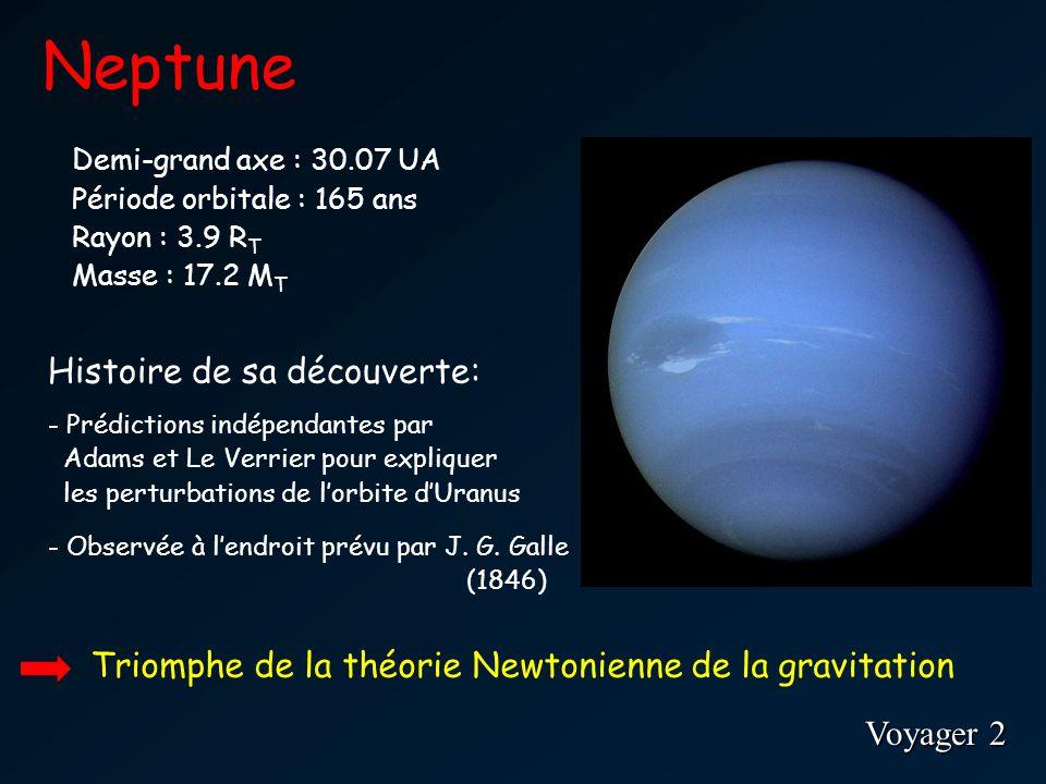 Neptune Voyager 2 Demi-grand axe : 30.07 UA Période orbitale : 165 ans Rayon : 3.9 R T Masse : 17.2 M T Histoire de sa découverte: - Prédictions indépendantes par Adams et Le Verrier pour expliquer les perturbations de lorbite dUranus - Observée à lendroit prévu par J.
