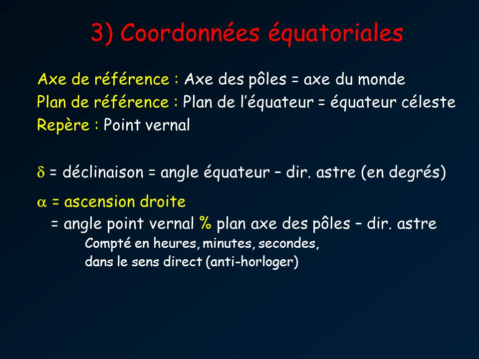 Axe de référence : Axe des pôles = axe du monde Plan de référence : Plan de léquateur = équateur céleste Repère : Point vernal = déclinaison = angle équateur – dir.