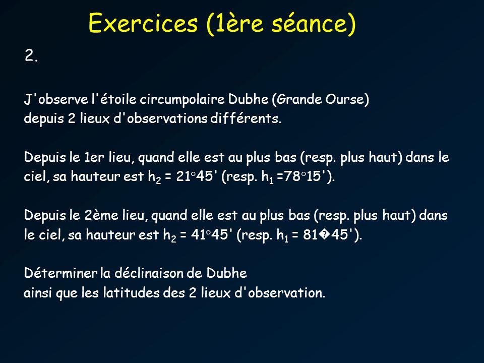 2.J observe l étoile circumpolaire Dubhe (Grande Ourse) depuis 2 lieux d observations différents.