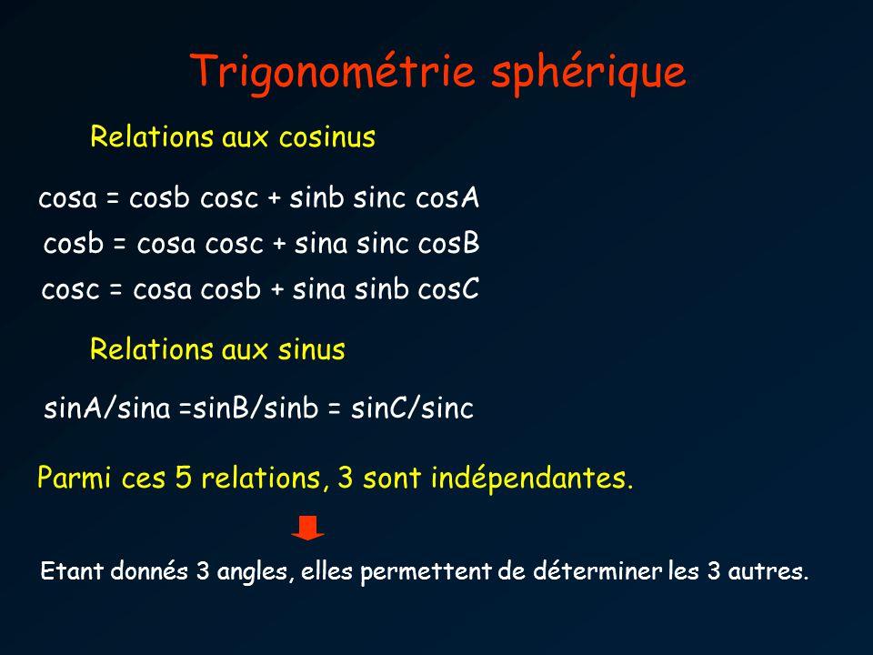 cosa = cosb cosc + sinb sinc cosA cosb = cosa cosc + sina sinc cosB cosc = cosa cosb + sina sinb cosC sinA/sina =sinB/sinb = sinC/sinc Trigonométrie sphérique Relations aux cosinus Relations aux sinus Parmi ces 5 relations, 3 sont indépendantes.