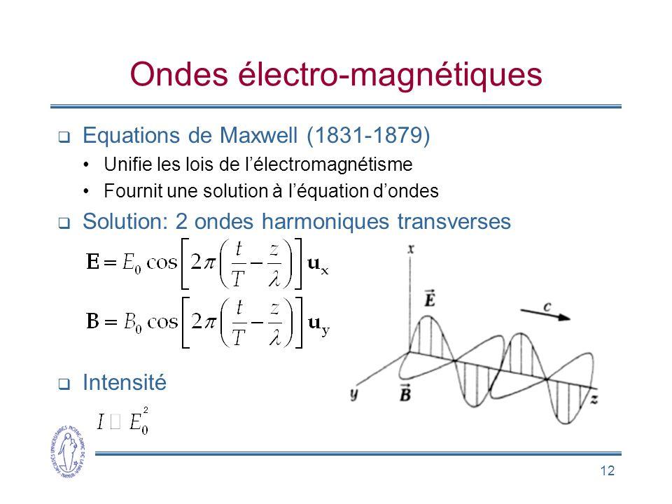 12 Ondes électro-magnétiques Equations de Maxwell (1831-1879) Unifie les lois de lélectromagnétisme Fournit une solution à léquation dondes Solution:
