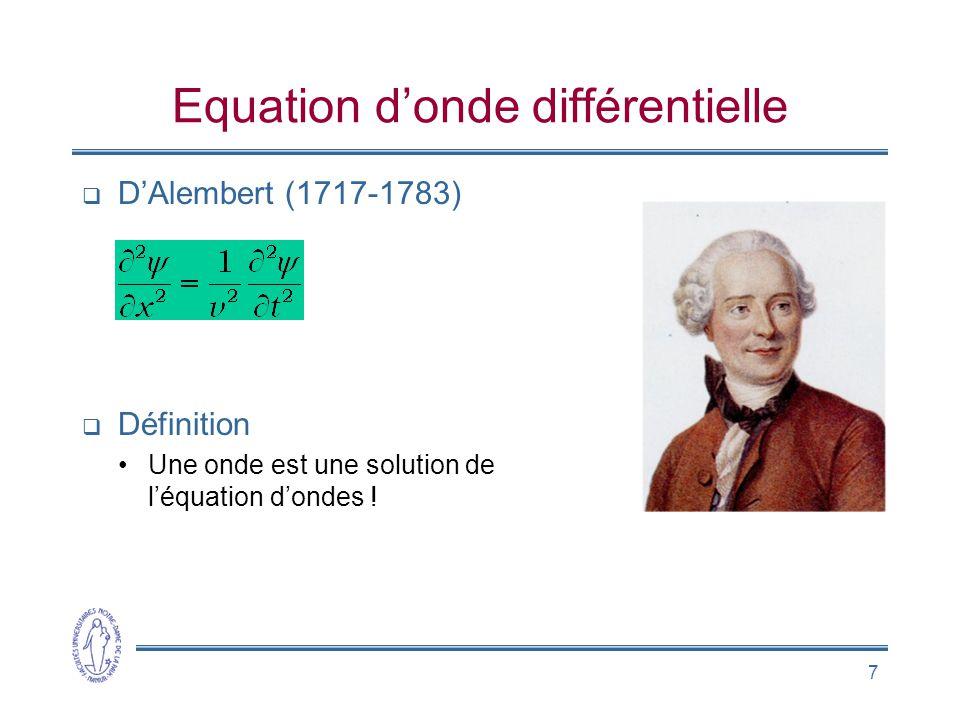 7 Equation donde différentielle DAlembert (1717-1783) Définition Une onde est une solution de léquation dondes !