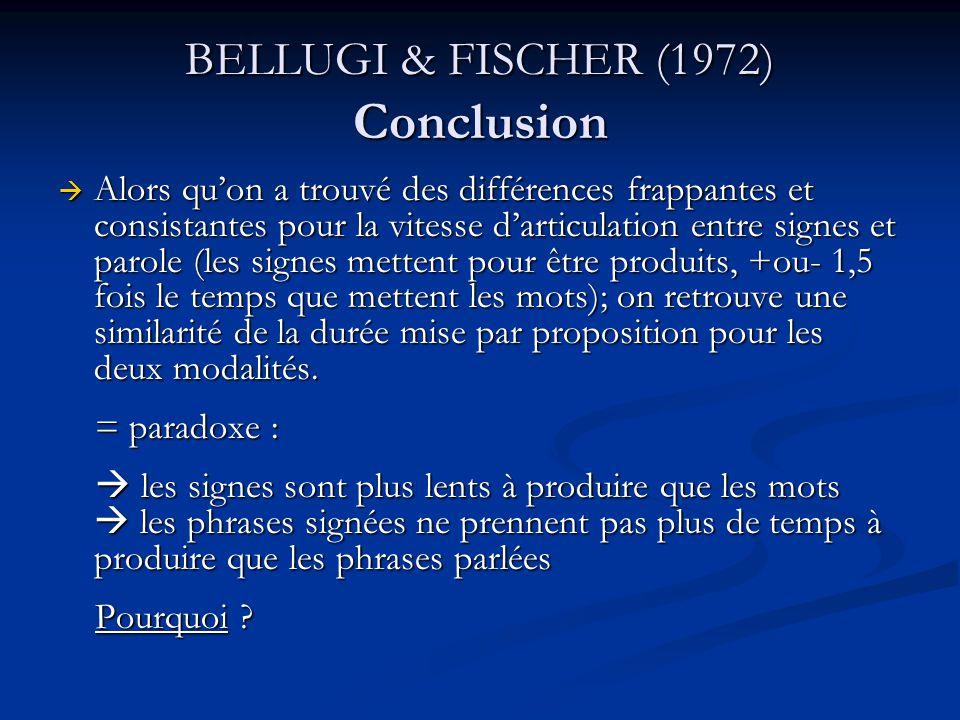 BELLUGI & FISCHER (1972) Conclusion Alors quon a trouvé des différences frappantes et consistantes pour la vitesse darticulation entre signes et parol