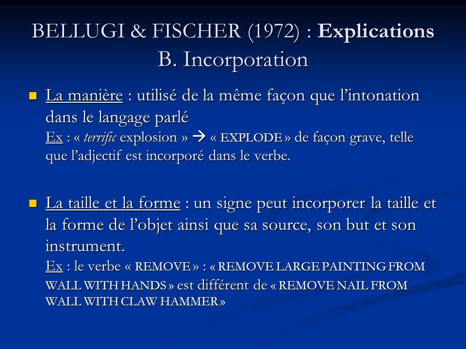BELLUGI & FISCHER (1972) : Explications B. Incorporation La manière : utilisé de la même façon que lintonation dans le langage parlé Ex : « terrific e