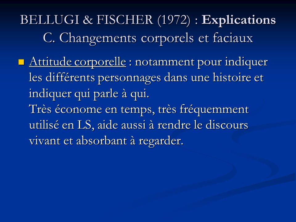 BELLUGI & FISCHER (1972) CONCLUSION Lexploitation des mécanismes disponibles à la modalité rend possible la compensation du problème apparemment lié à la LS, à savoir que les signes prennent plus de temps à articuler que les mots.