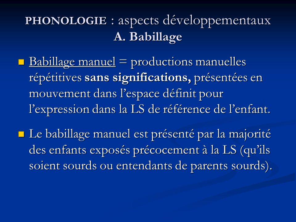 PHONOLOGIE : aspects développementaux A. Babillage Babillage manuel = productions manuelles répétitives sans significations, présentées en mouvement d