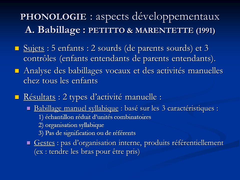 PHONOLOGIE : aspects développementaux A. Babillage : PETITTO & MARENTETTE (1991) Sujets : 5 enfants : 2 sourds (de parents sourds) et 3 contrôles (enf