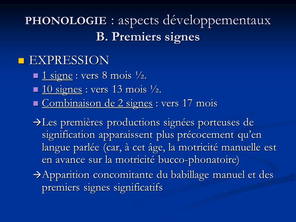 PHONOLOGIE : aspects développementaux B. Premiers signes EXPRESSION EXPRESSION 1 signe : vers 8 mois ½. 1 signe : vers 8 mois ½. 10 signes : vers 13 m