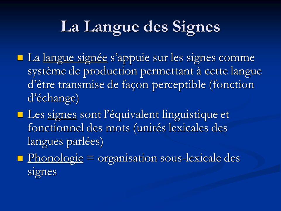 La Langue des Signes La langue signée sappuie sur les signes comme système de production permettant à cette langue dêtre transmise de façon perceptibl
