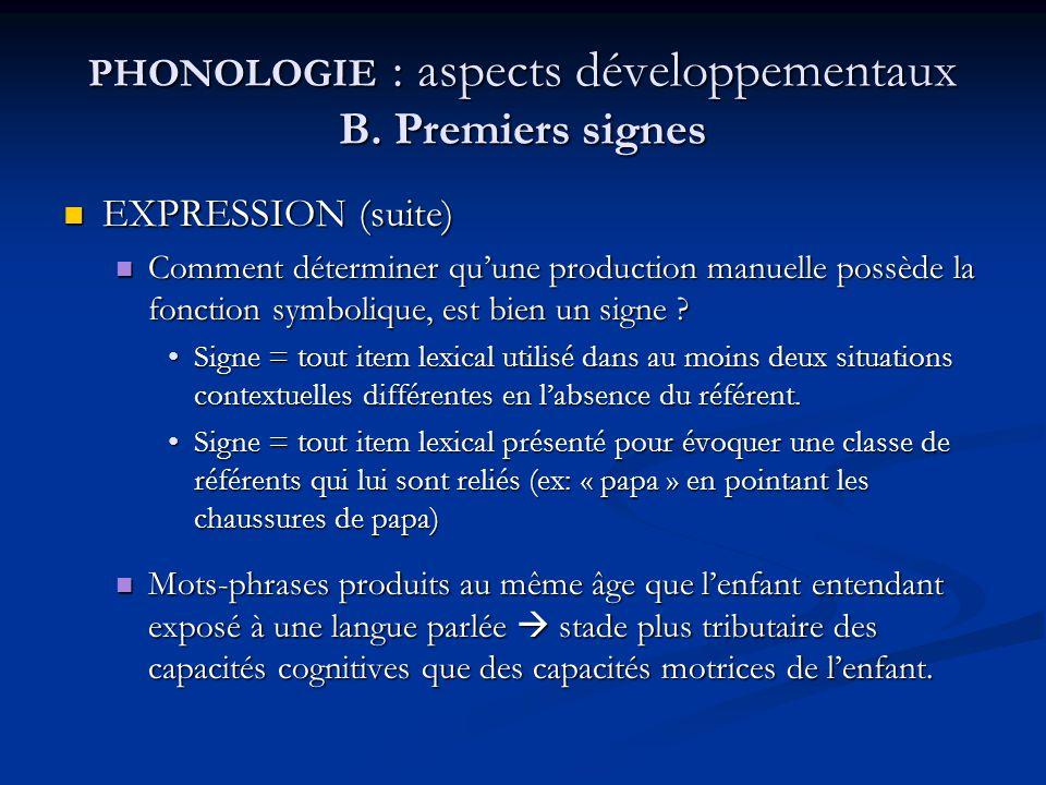 PHONOLOGIE : aspects développementaux B. Premiers signes EXPRESSION (suite) EXPRESSION (suite) Comment déterminer quune production manuelle possède la