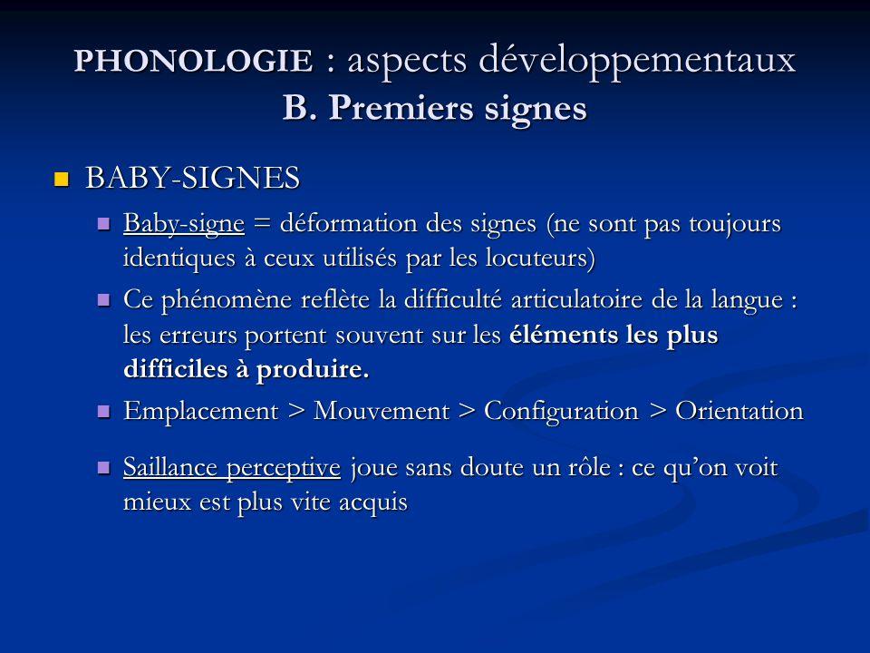 PHONOLOGIE : aspects développementaux B. Premiers signes BABY-SIGNES BABY-SIGNES Baby-signe = déformation des signes (ne sont pas toujours identiques