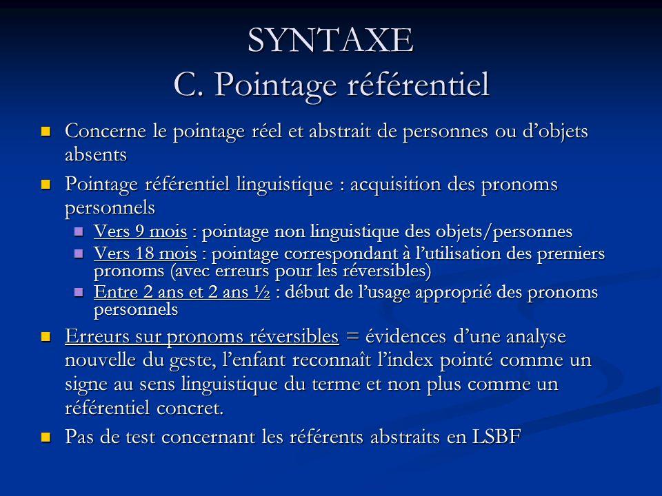 SYNTAXE C. Pointage référentiel Concerne le pointage réel et abstrait de personnes ou dobjets absents Concerne le pointage réel et abstrait de personn