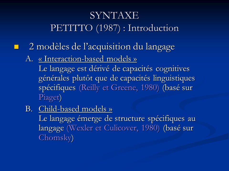 SYNTAXE PETITTO (1987) : Introduction Réfutation de B Les connaissances sur le langage : via connaissances pré-linguistiques, rôle central des gestes pré linguistiques Réfutation de B Les connaissances sur le langage : via connaissances pré-linguistiques, rôle central des gestes pré linguistiques Bates et coll.