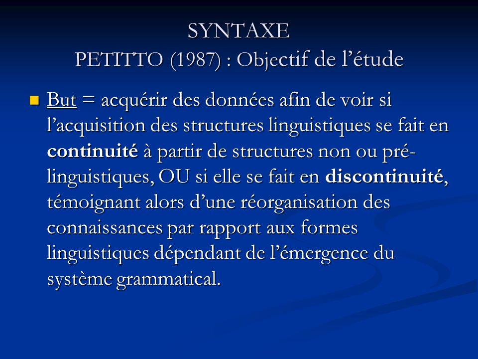 SYNTAXE PETITTO (1987) : Obje ctif de létude But = acquérir des données afin de voir si lacquisition des structures linguistiques se fait en continuit