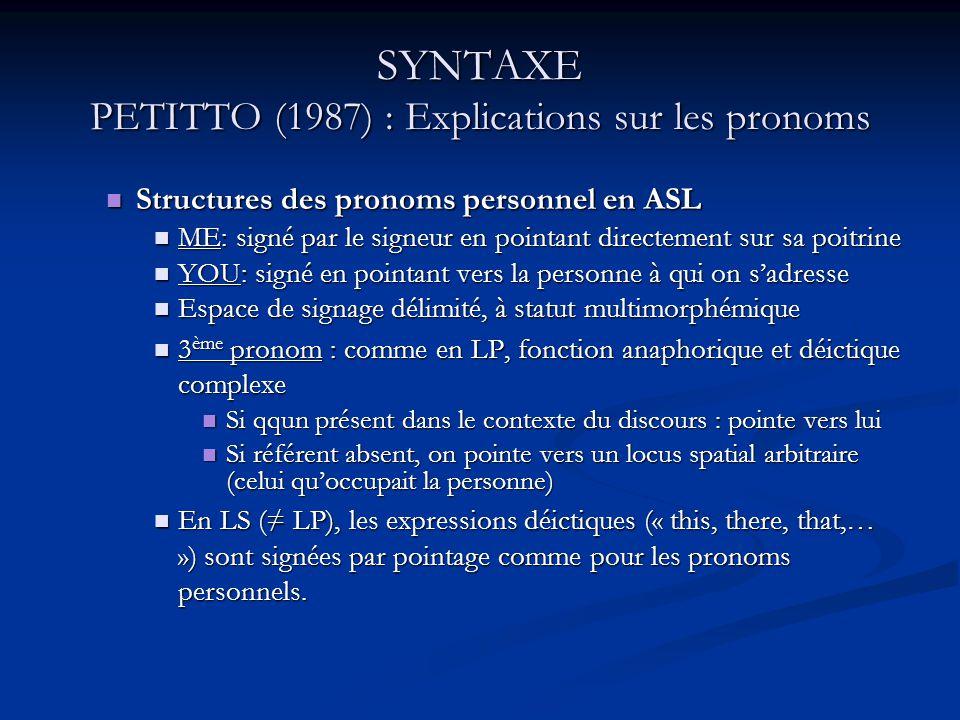 SYNTAXE PETITTO (1987) : Explications sur les pronoms Structures des pronoms personnel en ASL Structures des pronoms personnel en ASL ME: signé par le