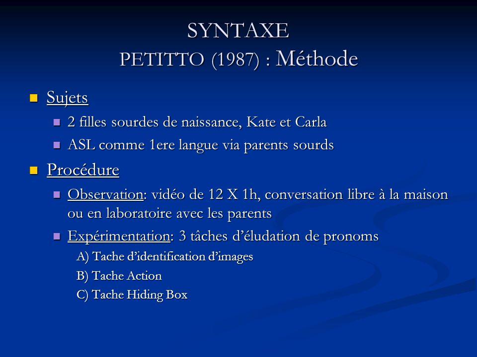 SYNTAXE PETITTO (1987) : Méthode Sujets Sujets 2 filles sourdes de naissance, Kate et Carla 2 filles sourdes de naissance, Kate et Carla ASL comme 1er