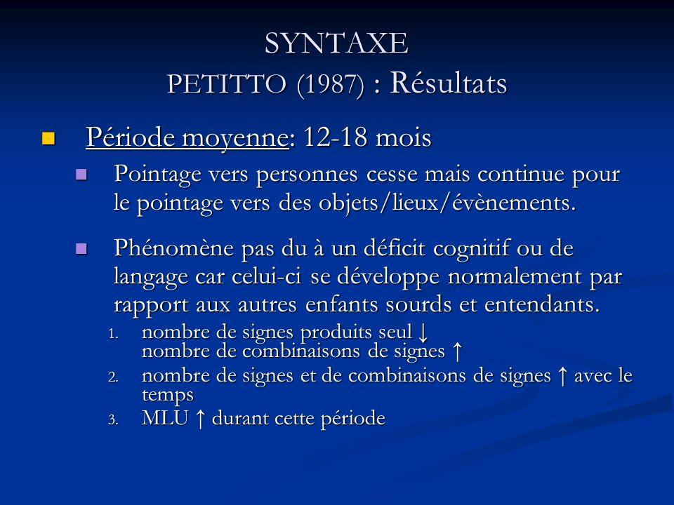 SYNTAXE PETITTO (1987) : Résultats Période moyenne (suite) Période moyenne (suite) Échec de pointage vers soi-même et les autres qui serait du à une inhabilité à reconnaître et à faire référence à soi-même et aux autres.