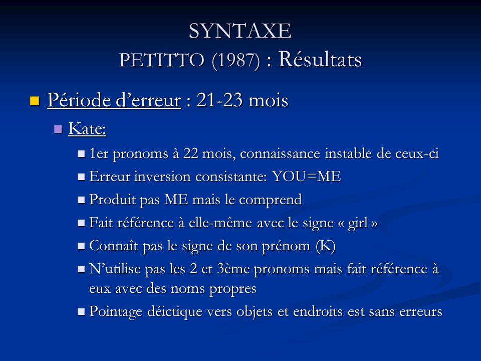 SYNTAXE PETITTO (1987) : Résultats Carla: Carla: 1er pronoms : 21 mois, connaissance instable de ceux-ci 1er pronoms : 21 mois, connaissance instable de ceux-ci Jargon approximatif de son nom jusquà 25 mois Jargon approximatif de son nom jusquà 25 mois 3types derreurs: 3types derreurs: 1)erreurs dinversions inconsistantes: inversions non systématiques de YOU et ME, comme pour les enfants entendants 2)erreur de référent à la 3ème personne: produit le 3ème pronom sans spécifier le référent 3)erreurs de pronoms possessifs: utilise MY et MINE à la place de ME et vice-versa, pareil pour YOU et YOUR => pas erreur sémantique mais confusion entre usage de pronoms personnels et possessifs (qd utiliser lun ou lautre) Usage correct des pronoms personnels: 25-27 mois Usage correct des pronoms personnels: 25-27 mois