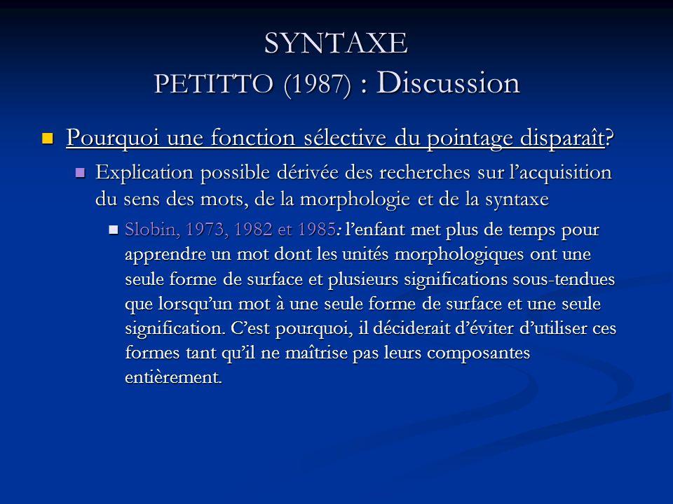 SYNTAXE PETITTO (1987) : Discussion Pourquoi une fonction sélective du pointage disparaît? Pourquoi une fonction sélective du pointage disparaît? Expl