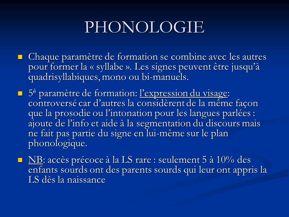 PHONOLOGIE Chaque paramètre de formation se combine avec les autres pour former la « syllabe ». Les signes peuvent être jusquà quadrisyllabiques, mono