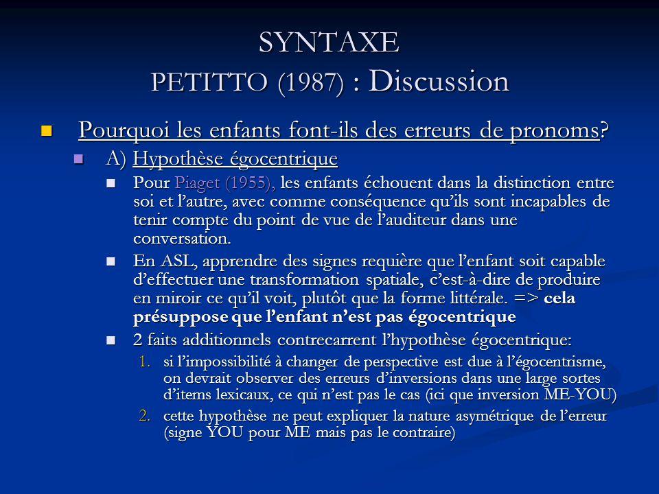 SYNTAXE PETITTO (1987) : Discussion Pourquoi les enfants font-ils des erreurs de pronoms? Pourquoi les enfants font-ils des erreurs de pronoms? A) Hyp