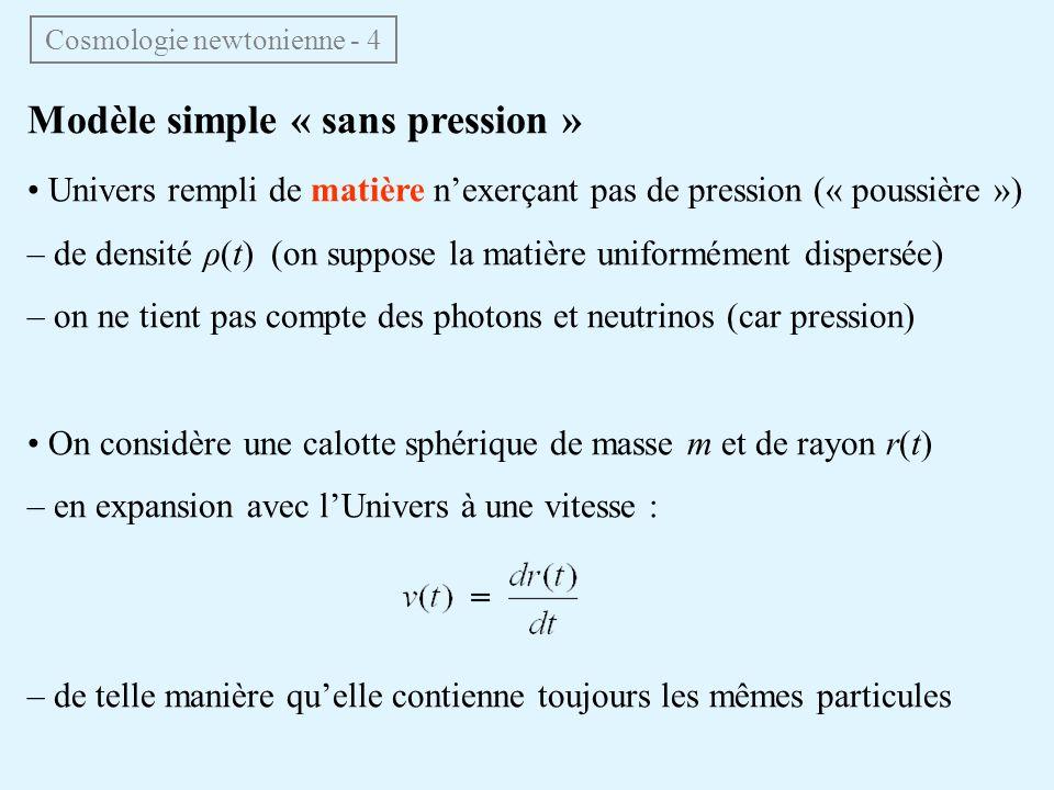 Modèle simple « sans pression » Univers rempli de matière nexerçant pas de pression (« poussière ») – de densité ρ(t) (on suppose la matière uniformém