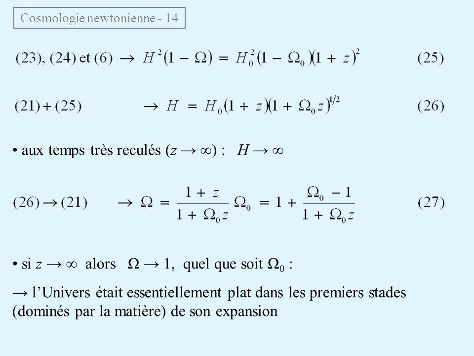 aux temps très reculés (z ) : H si z alors Ω 1, quel que soit Ω 0 : lUnivers était essentiellement plat dans les premiers stades (dominés par la matiè